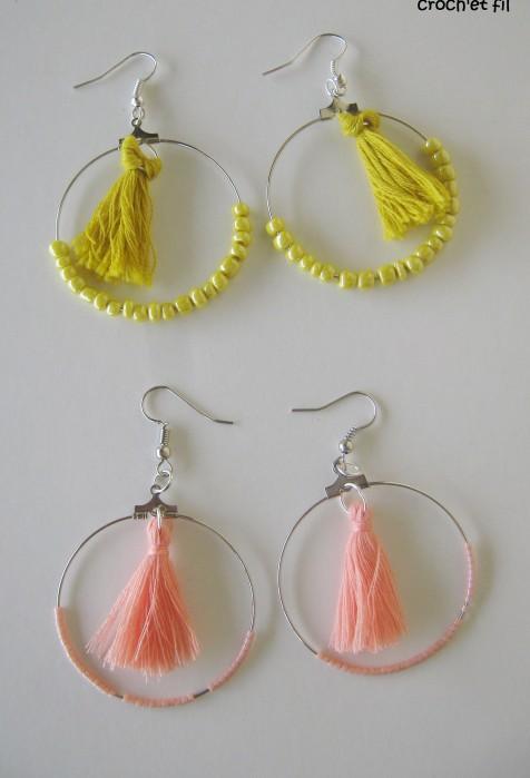 boucles d'oreilles perles et pompons2