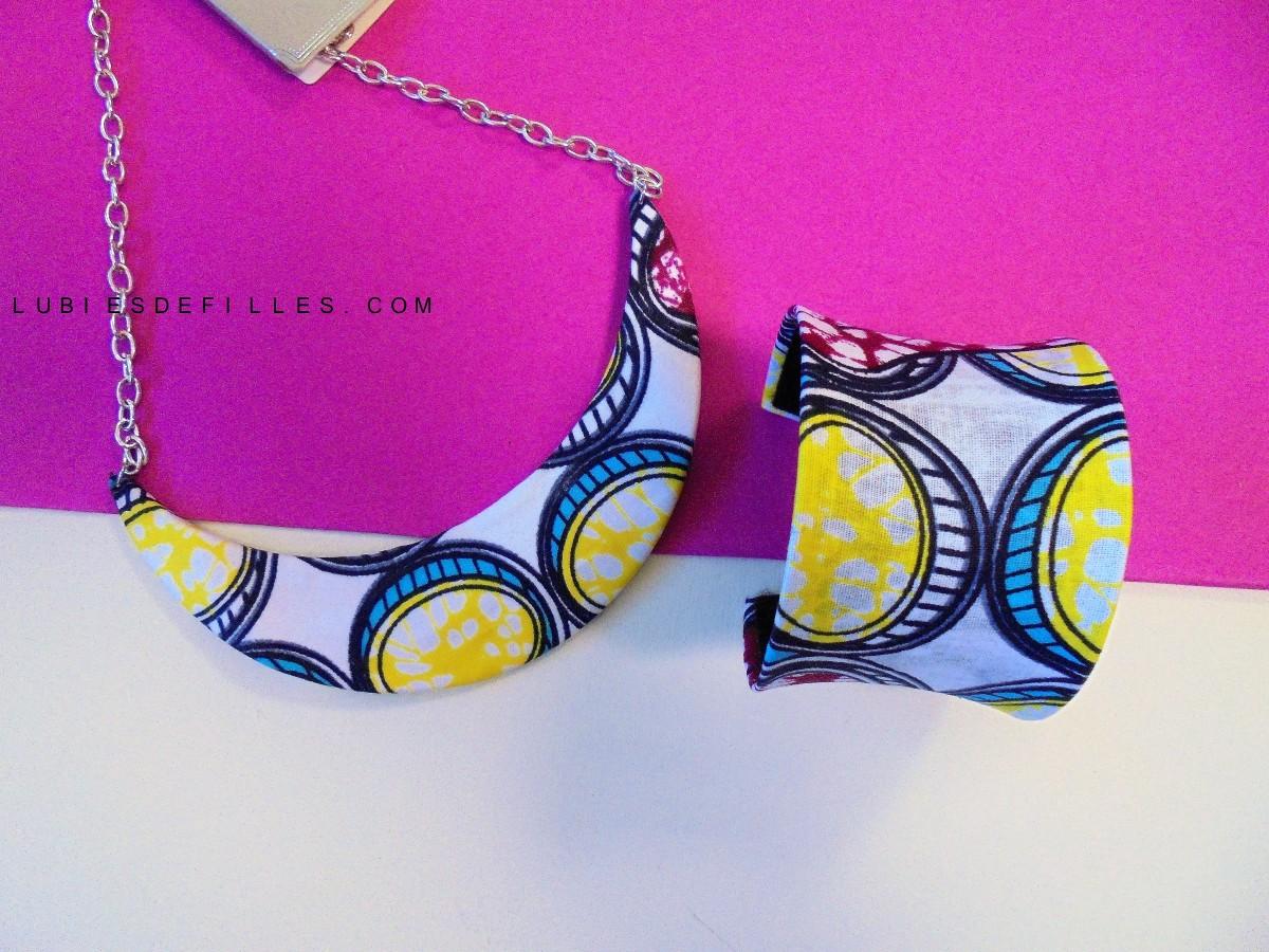 DIY collier plastron, bracelet et boucles d'oreilles en wax