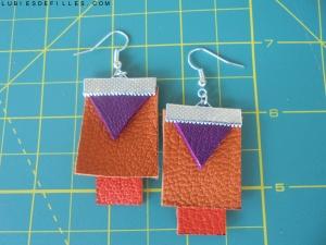 Boucles d'oreilles géométrique en cuir lubiesdefilles.com 06